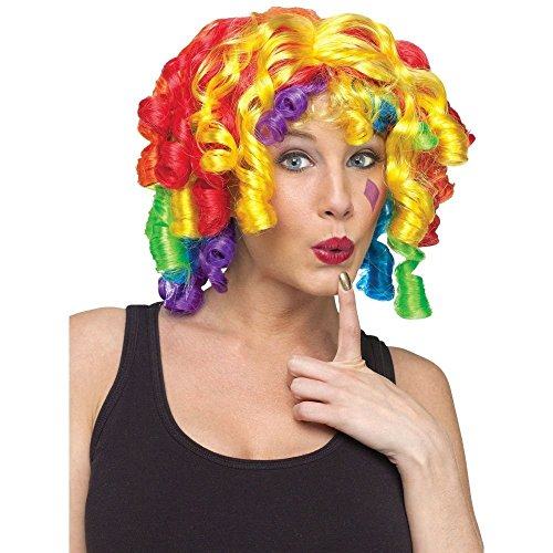 Rainbow Curls Clown Wig, One Size