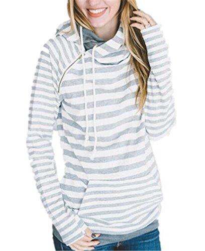 Lunga Con Tasche Hoodies Con Aivosen Elegante Cappuccio Sweatshirt Colore Sportiva Pullover Casual Manica Sweater Donna Gray Moda Puro aCEwqCY