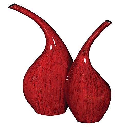 Howard Elliott 25078 Ceramic Vase Set, Scarlet Red/Brushed Black Accents, 2-Piece