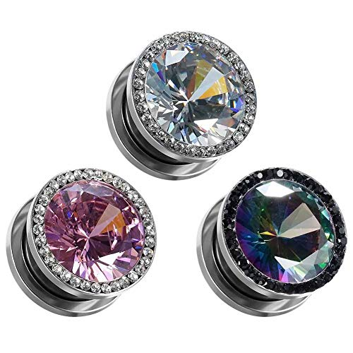 COOEAR Gauges for Ears Plugs and Tunnels Piercing Earrings Crystal with Zircon Style Expander Stretchers Size 2g(6mm) to 5/8