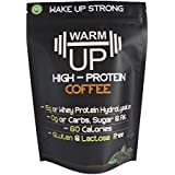 Aufwärmen Coffee Protein Powder | All-Natural, High Quality Whey Hydrolysate with 223mg of Natural Caffeine from Espresso Coffee | Gluten and Lactose Free | Low Carb/Keto | 18 Servings | Unsweetened