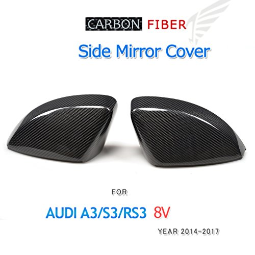 JCSPORTLINE Replacement Carbon Fiber Car Mirror Covers for Audi A3/S3/RS3 8V (1 Pair without Side Lane Assistant) 2014-2018