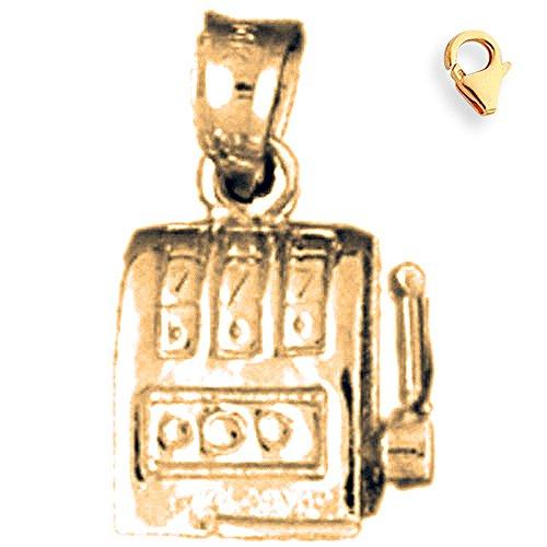 Jewels Obsession Slot Machine Pendant | 14K Yellow Gold Slot Machine Charm Pendant - 16mm