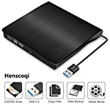 External DVD Drive,Henscoqi USB 3.0 External CD-RW Burner Writer,Slim Portable DVD Rewriter with Embedded USB Cable and High Speed Data Transfer for Notebook PC Desktop Computer (A)