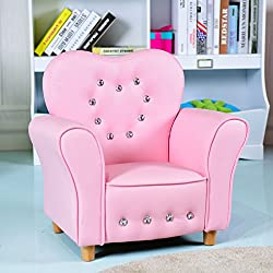 Costzon Kids Sofa, PU Leather Upholstered Armrest Chair, Sturdy Wood Construction, Crystal Embedded, Perfect for Preschool Girls, Pink (22-Inch Single Sofa)