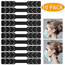 AKEROCK Strap for Face Mask, Ear Pain Relief Mask Extender for Face Mask, 6 Hooks for Different Size - 10 Pack, 7 Inch, Black