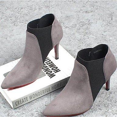 pwne Donna Primavera tacchi Club PU Scarpe Casual in pelle grigio nero grigio noi6.5-7 / EU37 / UK4 5-5 / CN37
