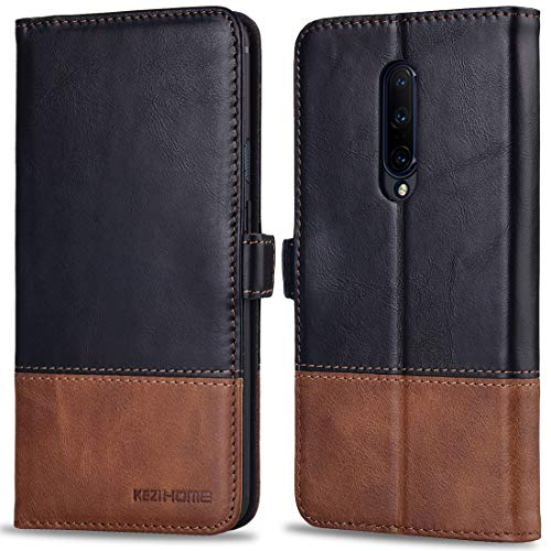 Oneplus 7 Pro Case, KEZiHOME Oneplus 7 Pro Wallet Case, [RFID Blocking] Genuine Leather Wallet Flip Folio Case Cover with Card Slot, Stand Holder, Magnetic Closure for Oneplus 7 Pro - Genuine Leather Pro