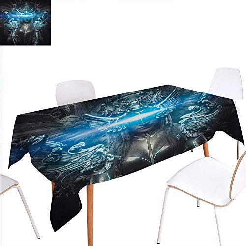 Fantasy World Washable Tablecloth Princess in Royal Gothic Silver Dress Futuristic Female Goddess Deity Muse Image Waterproof Tablecloths 60