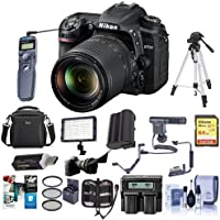 Nikon D7500 DSLR with AF-S DX NIKKOR 18-140mm f/3.5-5.6G ED VR Lens - Bundle With 64GB SDHC Card, Camera Bag, Spare Battery, Remote Shutter Release, Video Light, Tripod, Shotgun Mic, And More