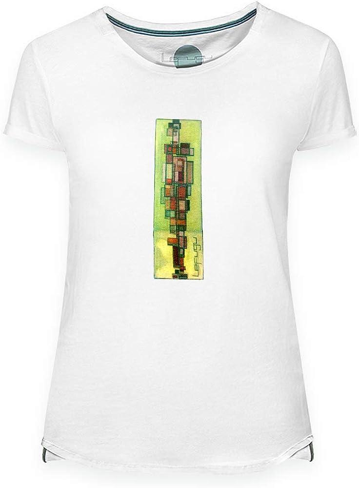 Lefugu Camiseta Estampada Manga Corta para Mujer, Color Blanco, Arte Original Cubism, 100% algodón de Primera Calidad, Detalles en el Cuello y Parte Inferior de Laterales (Medium): Amazon.es: Ropa y accesorios