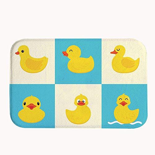 Duck Rug (TrUiuiui Cute Rubber Ducks Bath Mat Coral Fleece Area Rug Door Mat Entrance Rug Floor Mats for Front Outside Doors Entry Carpet 50 X 80 X)