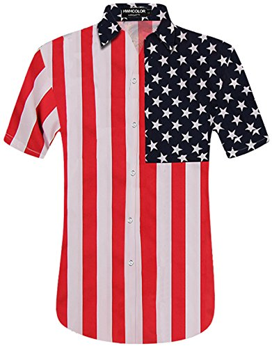 HWHColor Mens Striped American USA Flag Button Down Polo T Shirt July 4th Top Tee