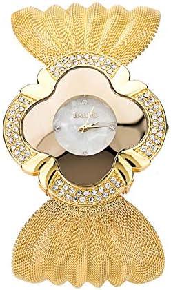 Women Crystal Diamonds Quartz Wristwatches, Waterproof Fashion Casual Luxury Bracelet Watch Butterfly Mesh Belt, Newstylish 2021 Elegant Butterfly Gold Watch Personality Accessories (Gold)