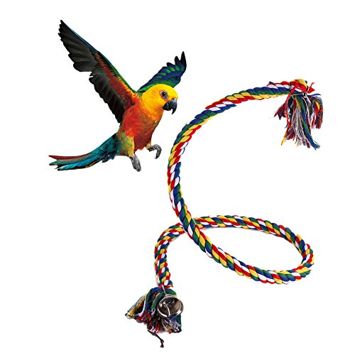 Parrot Toy Rope Braided Pet Parrot Chew Rope Budgie Perch Coil Bird Cage Conure Cockatiel Toy Pet Birds Training Accessories ()
