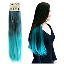 "Kisspat® Turquoise Ombre Dip Dyed Hair Extension-Synthetic Clip In Hair Extension With Gradual Green & Blue Colors, 5 Clips Easy To Apply & Remove, 23-24 inches Long, 9 inches wide, ""Step By Step"" Instruction For You"