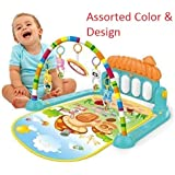 Cable World Kick and Play Musical Keyboard Mat Piano Baby Gym and Fitness Rack (Assorted Colour)