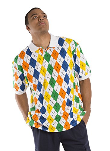 Vibes Men's Multi Color Argyle Printed Pique Polo Shirts Relax Fit Short Sleeve Size Large Multicoloured Rainbow