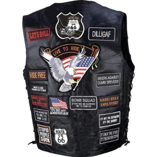 - Diamond Plate Mens Leather Patches Vest Black XL