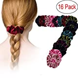 LPVLUX 16 Pieces Hair Scrunchies Velvet Elastics Scrunchy Bobbles Soft Hair Bands Hair Ties (Pack 16)