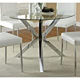 Coaster 120760-CO Vance Contemporary Glass Top Round Dining Table, In Chrome