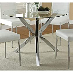 Coaster 120760 Co Vance Contemporary Glass Top Round Dining Table, In Chrome