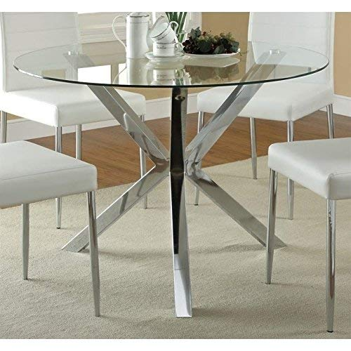 Coaster 120760-CO Vance Contemporary Glass Top Round Dining Table, In Chrome (Counter Round Table Glass Height Top)