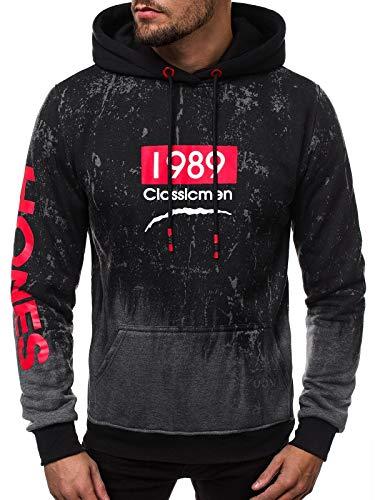 OZONEE Herren Kapuzenpullover Sweatshirt Pullover Aufdruck Print Modern Täglichen Streetwear Sport Sportswear Langarmshirt JS/DD700