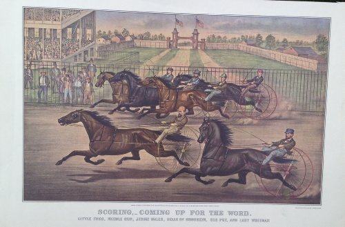 Calendar Currier & Ives Prints (Scoring, - Coming up for the Word. Little Fred, Needle Gun, Jessie Wales, Belle of Brooklyn, Old Put, and Lady Whitman, Reprinted From Lith By Currier & Ives, Print of Calendar: (16