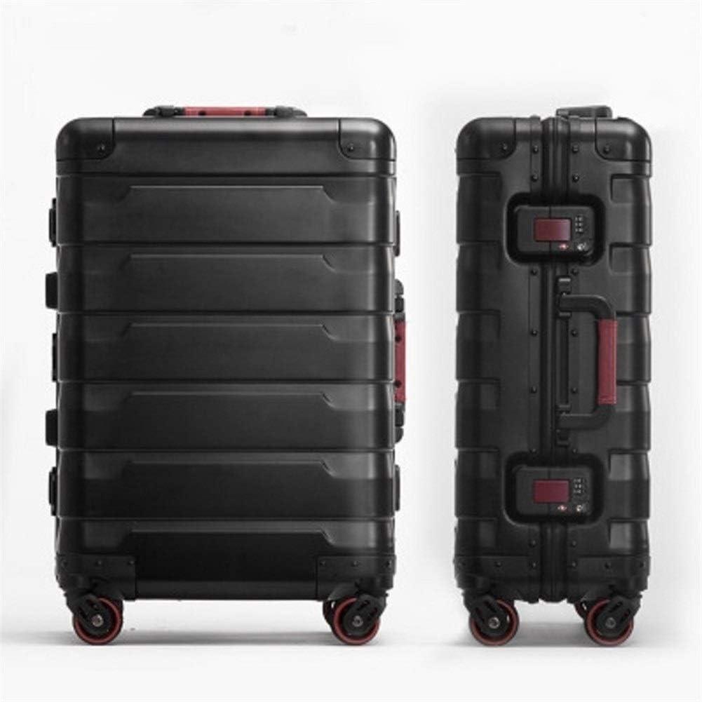 MJY Embarque de negocios de lujo Tamaño 20/24 Equipaje Spinner Marca Maleta de viaje Travel Tale 100% Aluminio-Magnesio de alta calidad,Negro,24 '