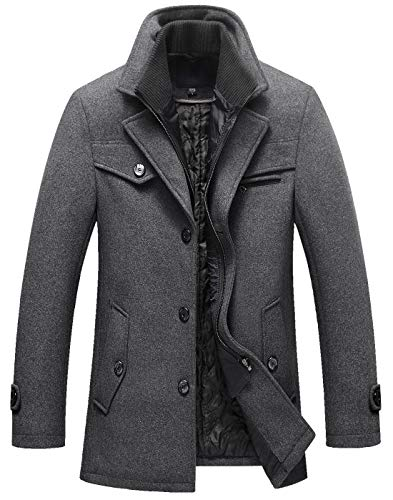 chouyatou Men's Gentle Layered Collar Single Breasted Quilted Lined Wool Blend Pea Coats (X-Small, Grey) (Notched Peacoat Collar Wool)