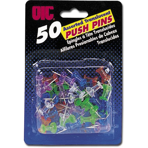 Officemate OIC 50 Pack Push Pins, Assorted Translucent Colors ()