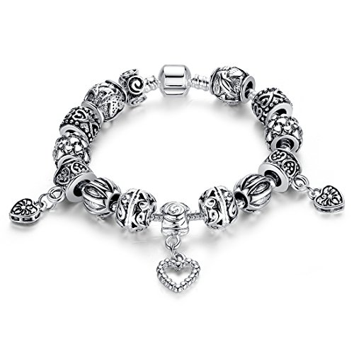 Presentski Snake Chain with 925 Sterling Silver Plated Glass Bead Bracelet with Safety Chain - Glass Sterling Silver Chain