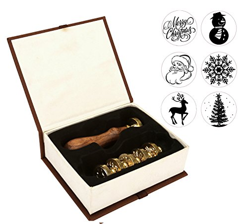 Christmas Wax Seal Stamp Set, Yoption 6 Pieces Sealing Wax Stamps Copper Seals + 1 Piece Wooden Hilt Vintage Retro Classical Initial Sealing Wax Stamp Kit (Merry Christmas Suit)