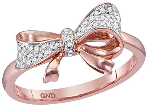 10kt Rose Gold Womens Round Diamond Cluster Ribbon Knot Bow Ring 1/12 Cttw (I2-I3 clarity; J-K color)