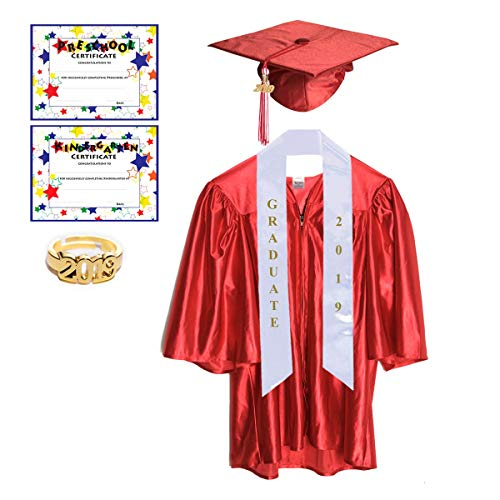 Small Red Shiny Preschool and Kindergarten Graduation Cap and Gown, Tassel and 2019 -