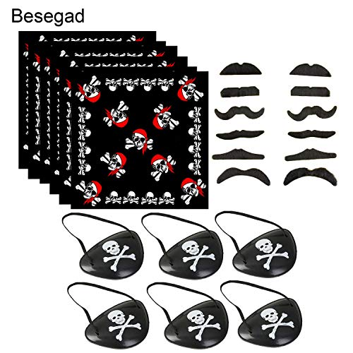 Besegad 12Pcs Beards 6Pcs Headscarf Eyepatch Pirate Captain Costume Accessories Supplies for Halloween Party Masquerade ()