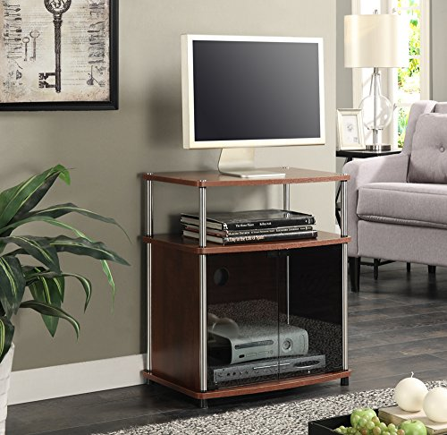 Convenience Concepts TV Stand with Black Glass Cabinet, ()