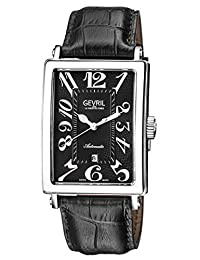 Gevril Men's 'Avenue of Americas' Automatic Stainless Steel and Leather Casual Watch, Color:Black (Model: 5061)