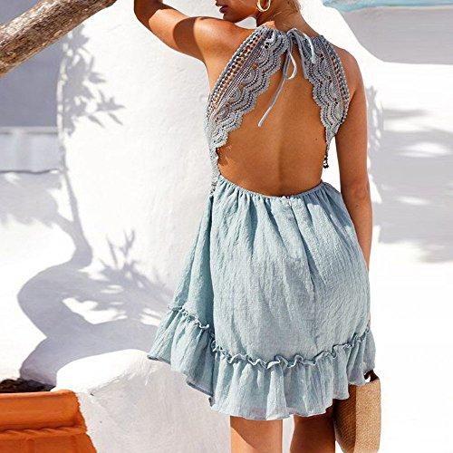 Mujeres Vestidos de Ropa Sexy Playa Vestir Fiesta Casual Túnica Club Verano Mini Vestido Corto por Vestidos Elegante para y Escotado de Vestido Mujer Mujer Detrás 2018 Sexy Azul Camisa BHZxwPxqp