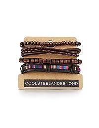 Mix 4 Brown Wrap Bracelets Men Women, Wood Beads Ethnic Tribal Bracelets, Leather Cotton Wristbands