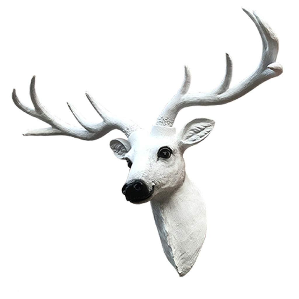 HongLianRiven Tête de Pendentif Tête de Cerf Large Moyen et Petit 78 * 62cm Blanc Minimaliste 9-16 (Size : S)