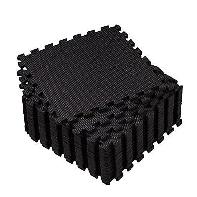 Eva Foam Mat, Superjare 1ft x 1ft (16 tiles = 16 sq.ft) Interlocking Tiles, Protective Flooring with Boarders Grey/Black from Superjare