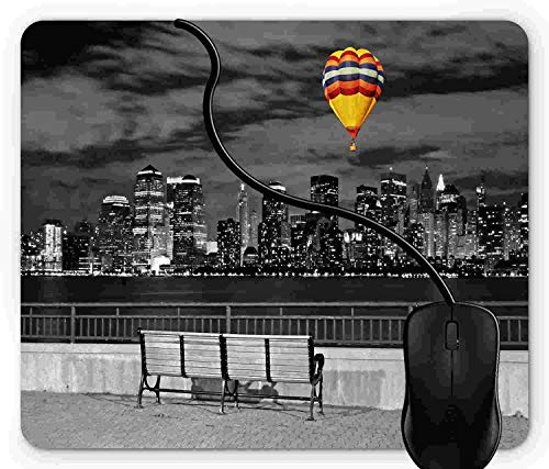 (Mouse Pad Gaming Black and White, NYC Skyline from Liberty State Park with Vibrant Air Balloon in Sky Print, 9.25 x 7.75 inch Non-Slip Rubber)