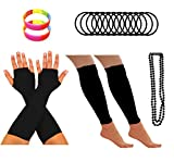 REDSTAR FANCY DRESS® Neon 1980s Party Outfit - Leg Warmers Fishnet Gloves Necklace Beads Gummies Neon Wristband
