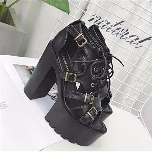 cf6d7086 BBSLT-Super Tacones Sandalias Zapatos 15 Cm Grueso La Primavera Y El Verano  Roma Sexy
