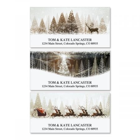 Winter Banners Christmas Address Labels (3 Designs) - Set of 144 1-1/8 x 2-1/4 Self-Adhesive, Flat-Sheet labels