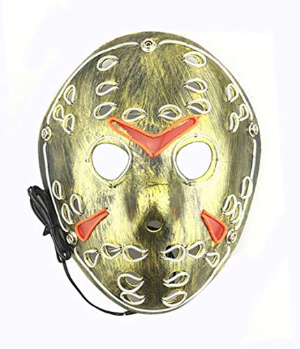 BAWASEEHI EL Wire Light Up LED Party Mask Halloween Cosplay Costume Scary Masquerade Mask]()
