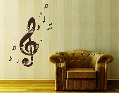 Amazon.com: Music Notes With Treble Key Wall Decal by Style & Apply ...