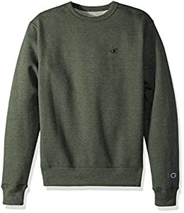 Champion Men's Powerblend Fleece Pullover Sweatshirt, Forest Grove Heather, Large
